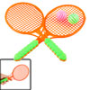 Pair Children Toy Green Handle Orange Frame Plastic Badminton Rac...