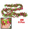 6.6Ft Long Artificial Magenta Flower Green Leaf Hanging Vine 5 Pc...