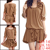 Ladies Khaki Color Stretchy Waistband Bowknot Decor Scoop Neck Ch...