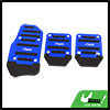 3 Pcs Black Blue Plastic Metal Nonslip Pedal Cover Set for Car
