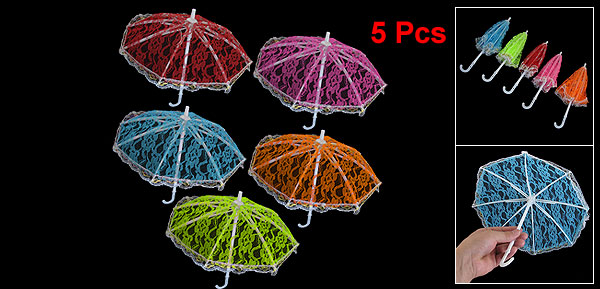 5 Pcs Children Colorful Lace Mesh Mini Umbrella Ornament