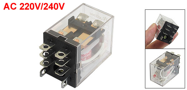 AC 220V/240V Coil 8 Pin DPDT Power Electromagnetic Relay 220VAC 7.5A 28VDC 10A