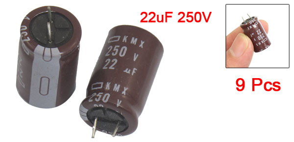 22uF 250V Radial Lead Electrolytic Capacitors 9 Pcs
