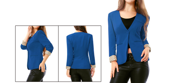 Allegra K Lady Welt Pockets Single Button Front Simple Fall Suit Blue S