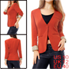 Ladies Orange Long Sleeve Dots Detail Single Button Closure Casua...