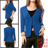 Ladies Blue Padded Shoulder Solid Color Welt Pockets Simple Fall ...