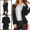 Ladies Black Long Sleeve Decorative Pockets Dots Detail Insert Pa...
