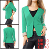 Lady Green Solid Color Deep V Neck Single Button Fastening Simple...