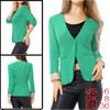 Allegra K Woman Three Welt Pockets One Button Front Padded Slim Blazer Green S