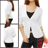 Ladies White Long Sleeve Three Decorative Pockets Dots Detail Pad...