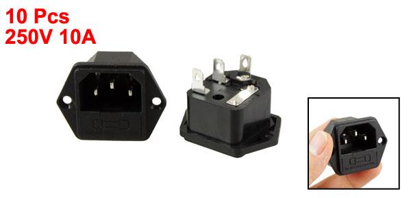 250V 10A 3 Terminals IEC 320 C14 Power Inlet Socket w Fuse Holder 10 Pcs
