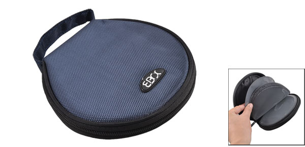 Blue Black Nylon Hand Carry Round CD Holder Bag for 20 CD Discs