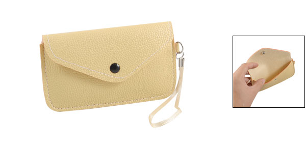 Beige Litchi Pattern Faux Leather Pouch Bag for Cell Phone