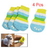 4 Pcs Multicolor Striped Warm Knit Nonslip Dog Puppy Cat Socks