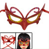 Lady Rhinestone Gold Tone Powder Detail Self Tie Fancy Party Eye Mask Red