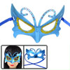 Lady Rhinestone Gold Tone Powder Detail Self Tie Fancy Party Eye Mask Blue