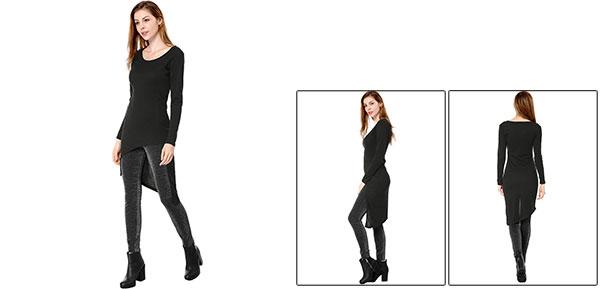 Allegra K Women Solid Colour Long Sleeves Slim Fitting Tunic Shirt Black XS