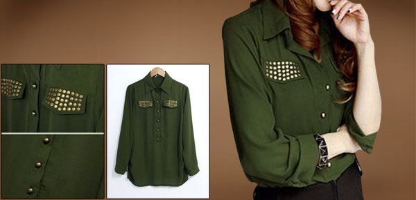 Ladies Olive Green Long Sleeve Rivets Decor Fake Pockets Chiffon Blouse S