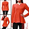 Ladies Orange Zip Closure Back Ruffled Fashional Autumn Tee Shirt...