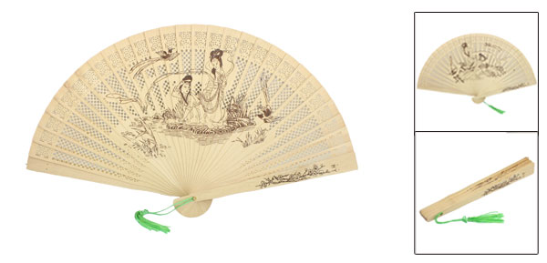 Foldable Wooden Carved Flower Lady Print Green Tassel Decor Fragrant Hand Fan