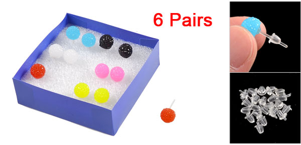 Lady Assorted Color Plastic Round Design Ear Stud Earrings 6 Pairs