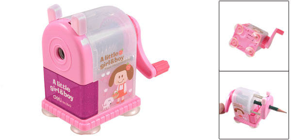 Girl Dog Pattern Plastic Eyebrow Drawing Pencil Manual Sharpener Pink Fuchsia