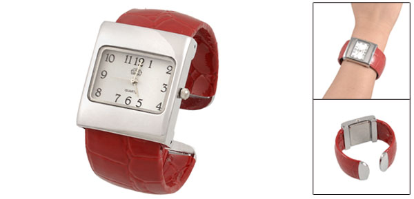 Lady Woman Rectangle Dial Red Faux Leather Coated Band Bracelet Wrist Watch