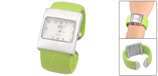 Rectangle Dial Green Crocodile Print Band Bracelet Wrist Watch for Woman Girls
