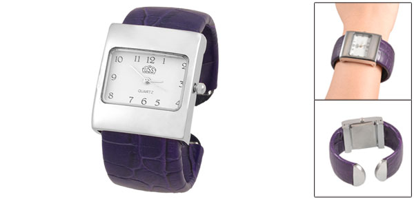 Purple Crocodile Pattern Band Rectangle Dial Silver Tone Bracelet Watch for Lady