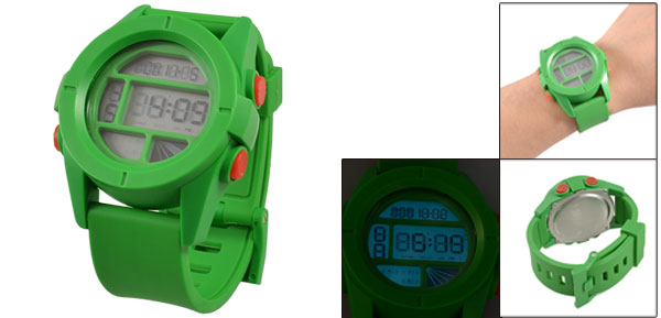 Plastic Band Green Dial Rim Digits Display Chronograph Stopwatch for Man