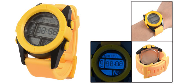 Man Round Dial Yellow Plastic Wristband LCD Sports Stop Alarm Watch