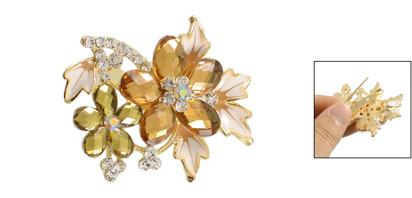 Clear Amber color Rhinestone Inlaid Metal Flowering Branch Decorated Pin Brooch