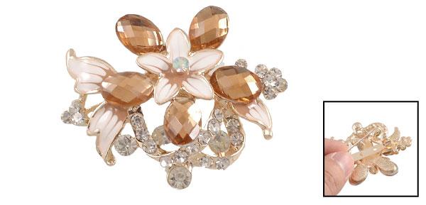 Clear Amber Color Rhinestone Metal Flower Safety Pin Breastpin Brooch for Lady