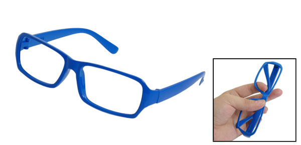 Blue Plastic Full Rim No Lens Glasses Ornament for Men Women