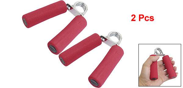 2 Pcs Red Spring Resistance Antislip Handle Arm Strength Hand Grips