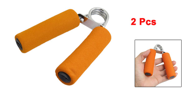 2 Pcs Orange Antislip Handle Arm Strength Hand Gripper Grip