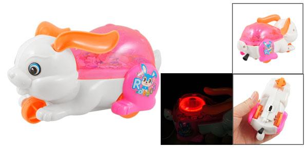 Child Fuchsia Orange Wheel Shinning Light Rabbit Design String Pull Toy