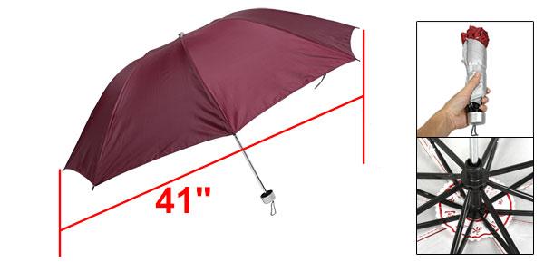 Plastic Handle Water Resistant Fabric Folding Shaft Red Rain Umbrella
