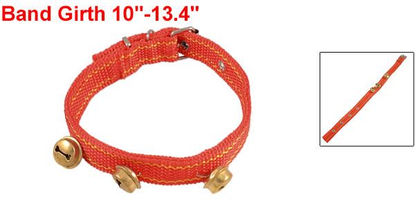 Red Yellow Nylon 3 Bells 4 Hole Design Pet Dog Collar Neck Strap