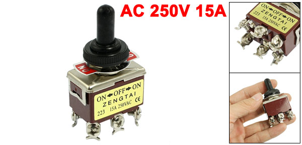 AC 250V 15A 6 Pin DPDT On/Off/On 3 Position Toggle Switch