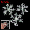 3 x Glittery White Plastic Snowflake Snow Flower Christmas Tree Ornament Hanger
