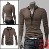 Men Coffee Color Leisure Basic Pullover ...