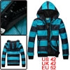 Mens Dark Light Blue Zip Closure Front Striped Pad...