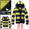 Mens Yellow Dark Blue Zip Up Front Winter New Fashion Padded Hood...