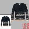 Men Dark Blue Cut Out Hole Design Deers Pattern Sweater S