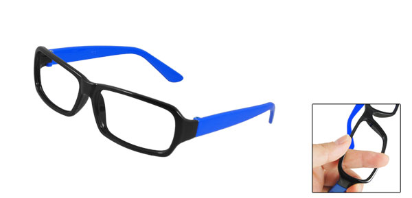 Women Men Black Blue Rubberized Plastic Full Rim Eyeglasses Frame