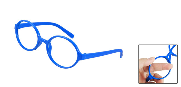 Women Blue Rubberized Plastic Round Full Rim Eyeglasses Frame
