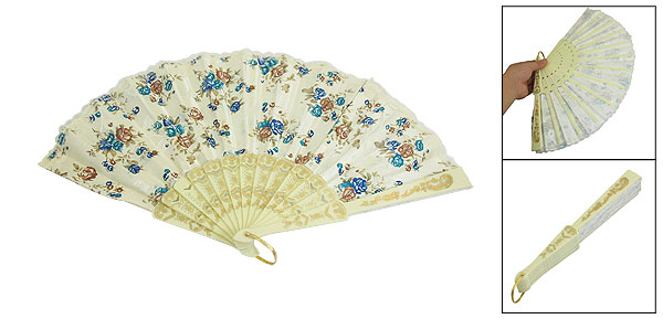 Flower Lace Detailing Plastic Chinese Folding Hand Fan
