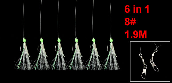 1.9M Fishing Line Green Luminous Beaded 6 in 1 Barbed Fish Hooks 8#