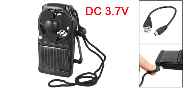 DC 3.7V Solar Mini Plastc Fan w 20cm USB Cable Adjustable Strap Black